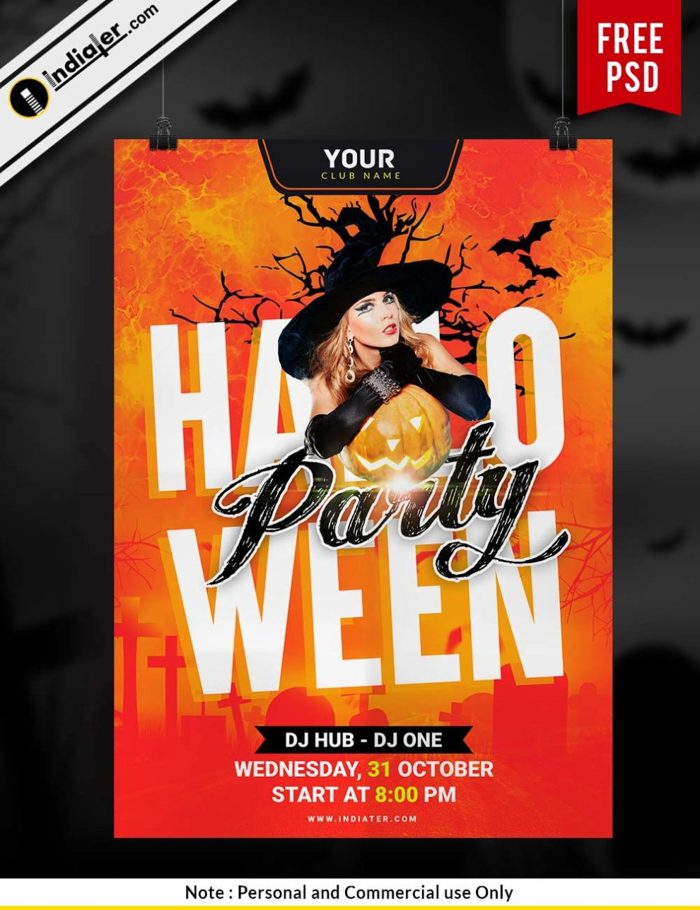 free halloween party invitation flyer template psd indiater