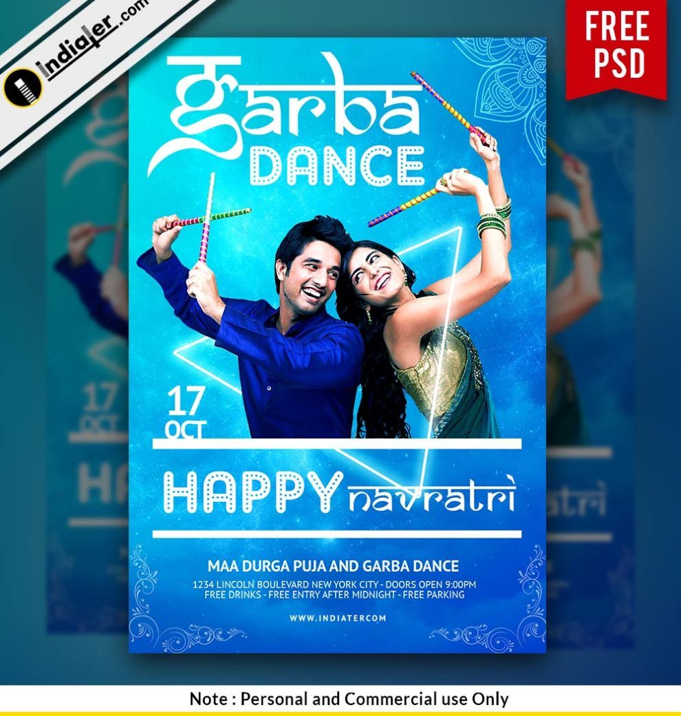 Garba Dance Navratri Celebration Night Party Invitation Poster