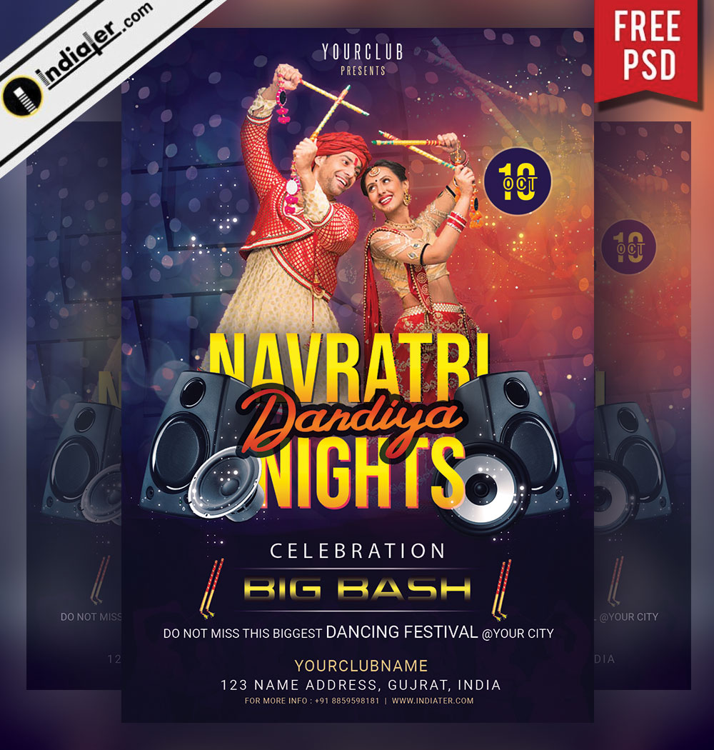 Navratri Dandiya And Garba Night Dance Party Invitation Flyer Indiater