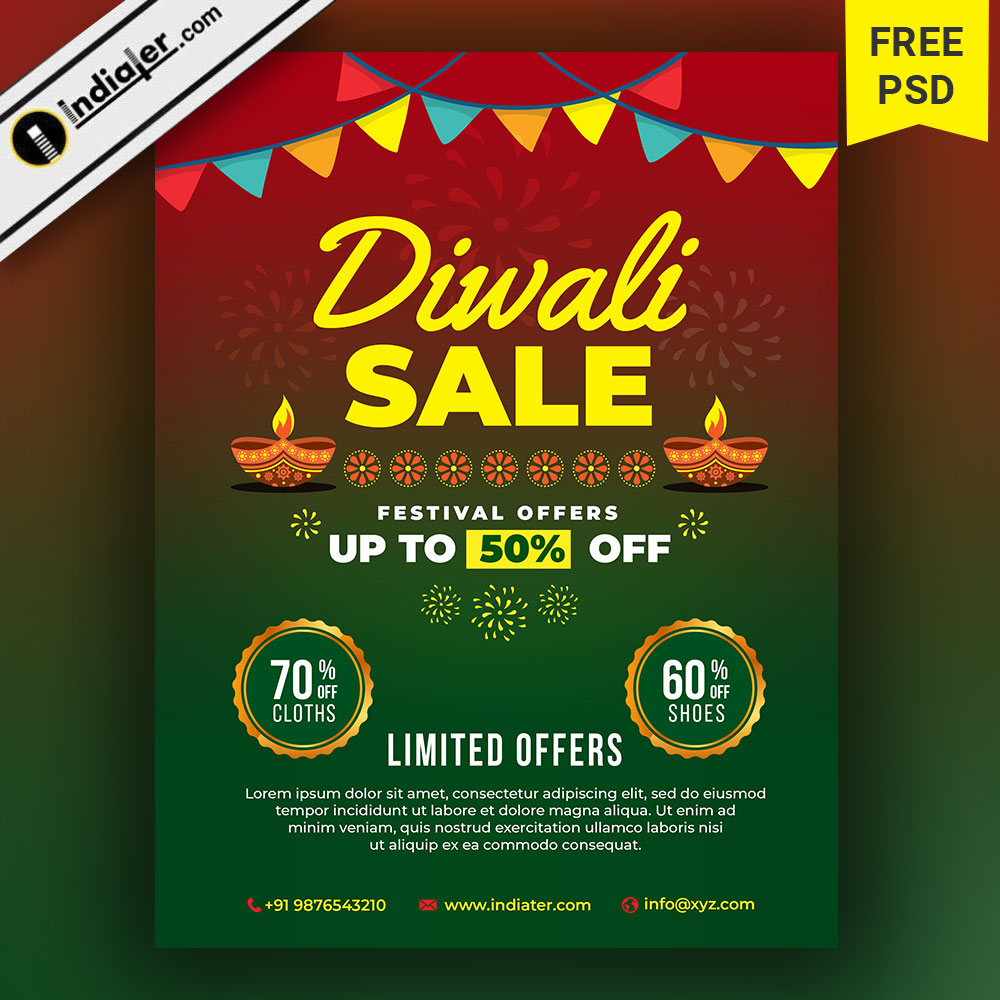 Diwali Sale Flyer Festival Discount Offers Banner Design