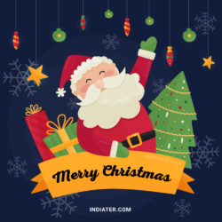 Free Wishes Greeting Card with Santa for Merry Christmas