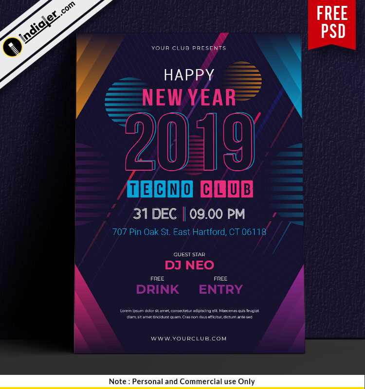 free happy new year techno club party flyer