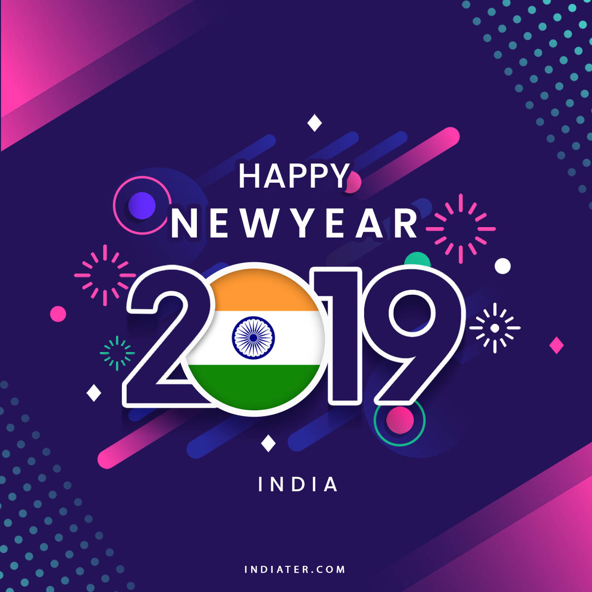 happy new year 2019 wishes greeting with indian flag