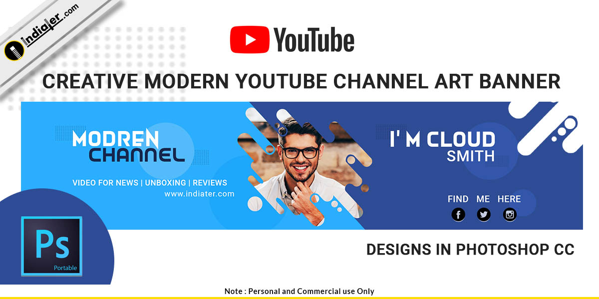 free creative modern youtube channel art banner psd