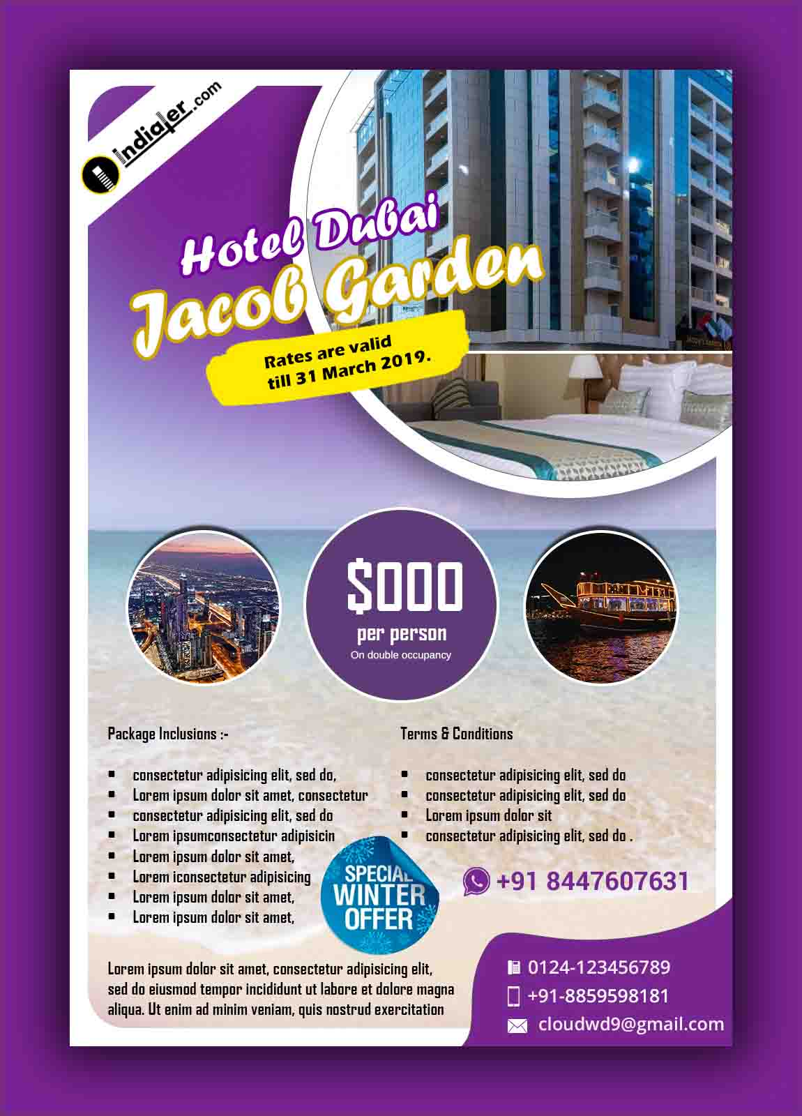 Dubai Jacob Garden Hotel promotion flyer template