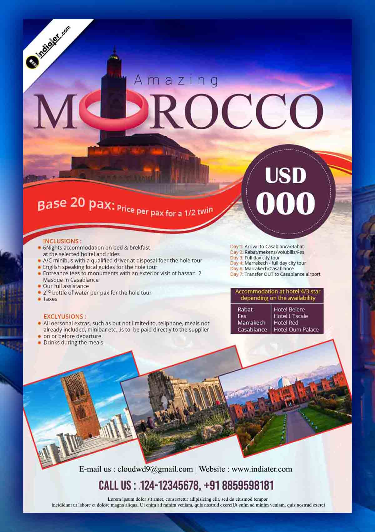 Morocco Travel Flyer PSD Template Design