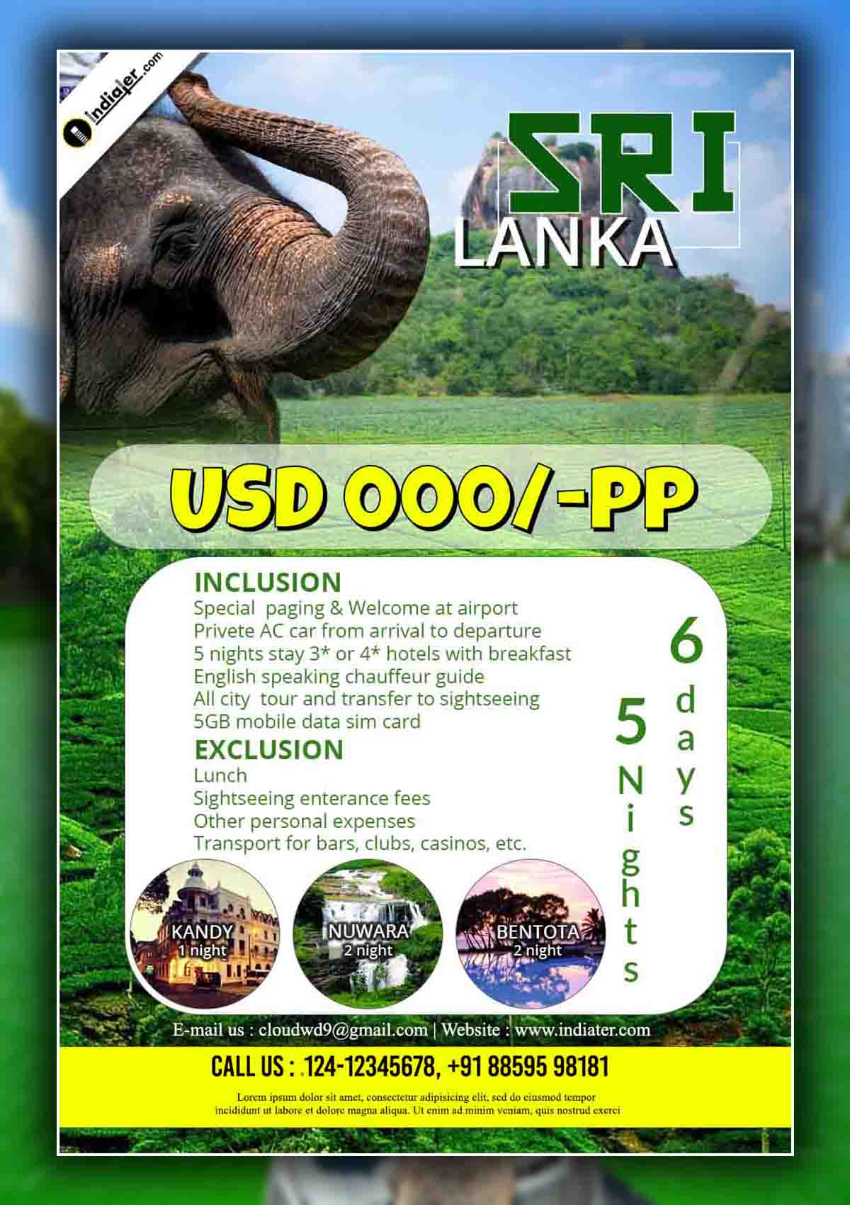 Srilanka Travel flyer Design PSD Template