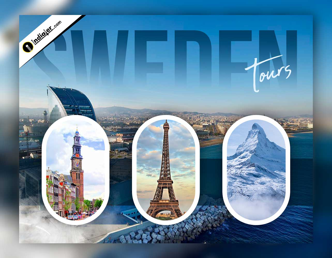 Sweden Travel flyer Design PSD Template