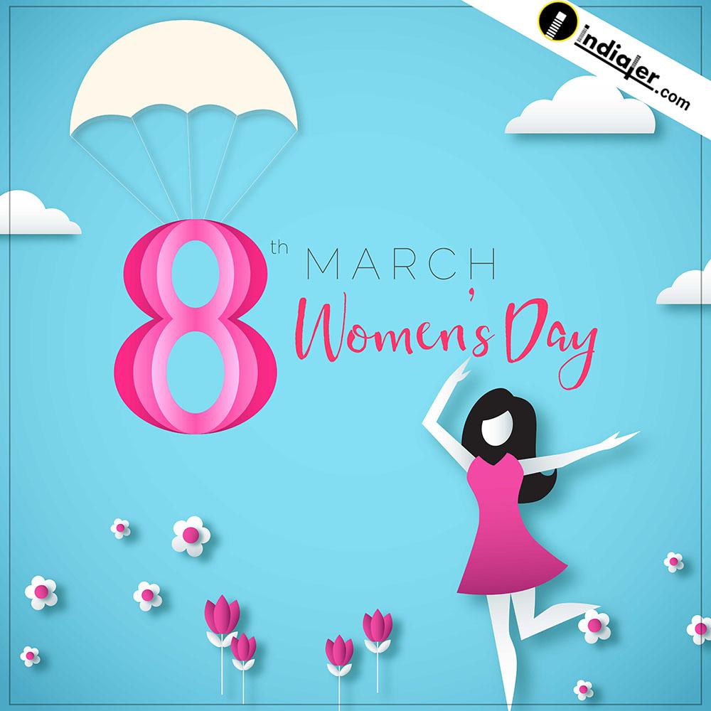 Creative Paper cut Women's day PSD Template