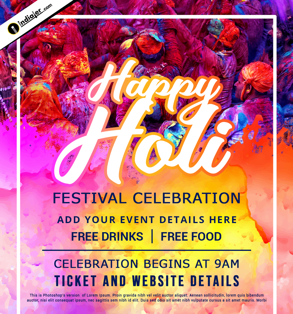 Join Us Holi Festival Celebration Invitation Template Design