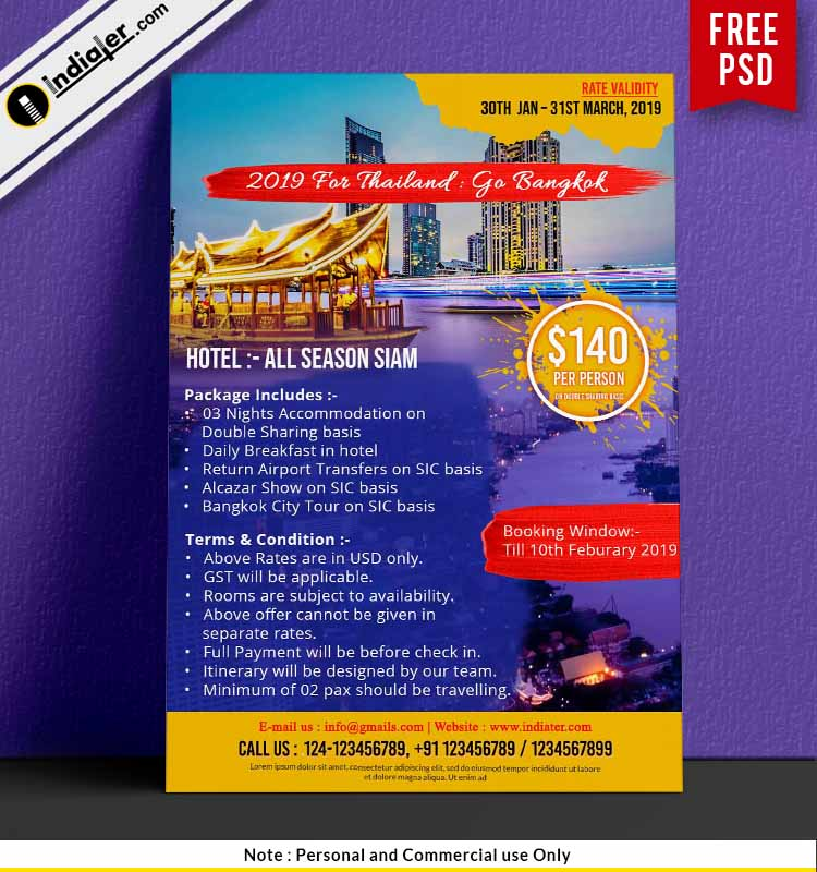 Thailand to Bangkok Travel package promotion Flyer