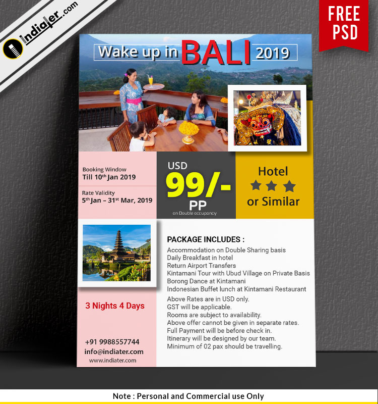 Bali Holiday travel agency advertisement samples