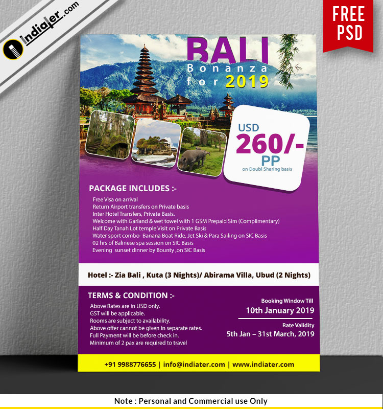 Bali Holiday travel poster design templates free
