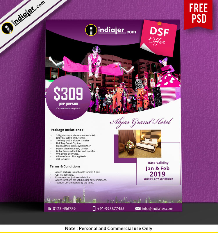 Clean Purple Hotel Promotion Free Flyer Design