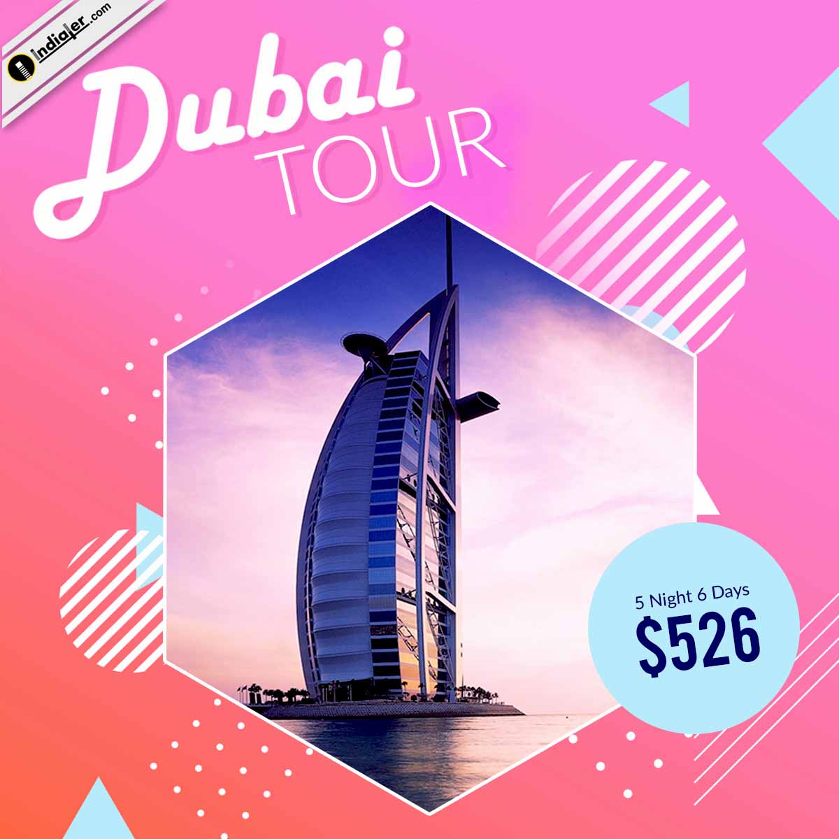 Creative Dubai Tour and Travel Social media banner