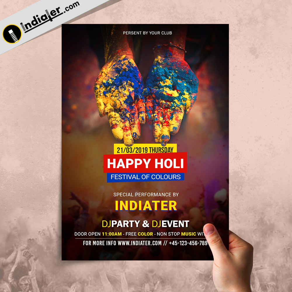 Creative Happy Holi Party Flyer PSD Template
