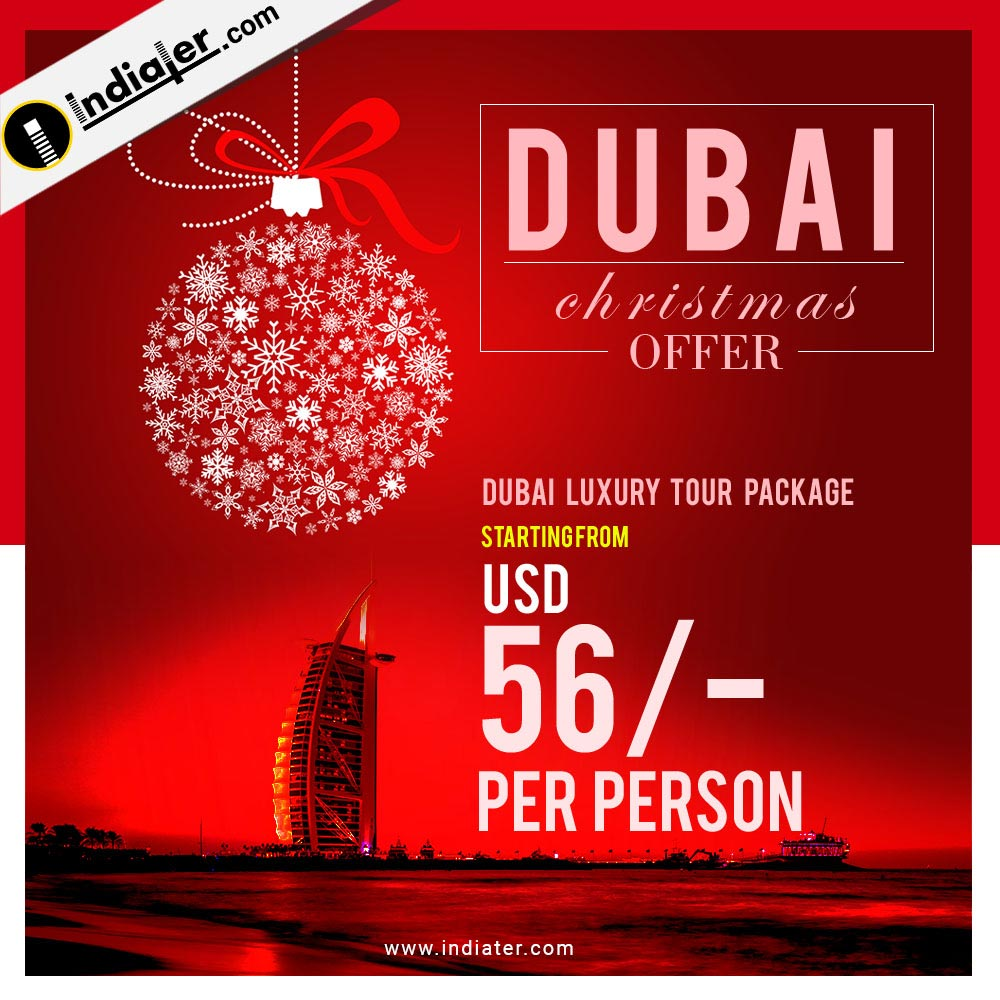 Dubai Christmas offer travel agency banner design