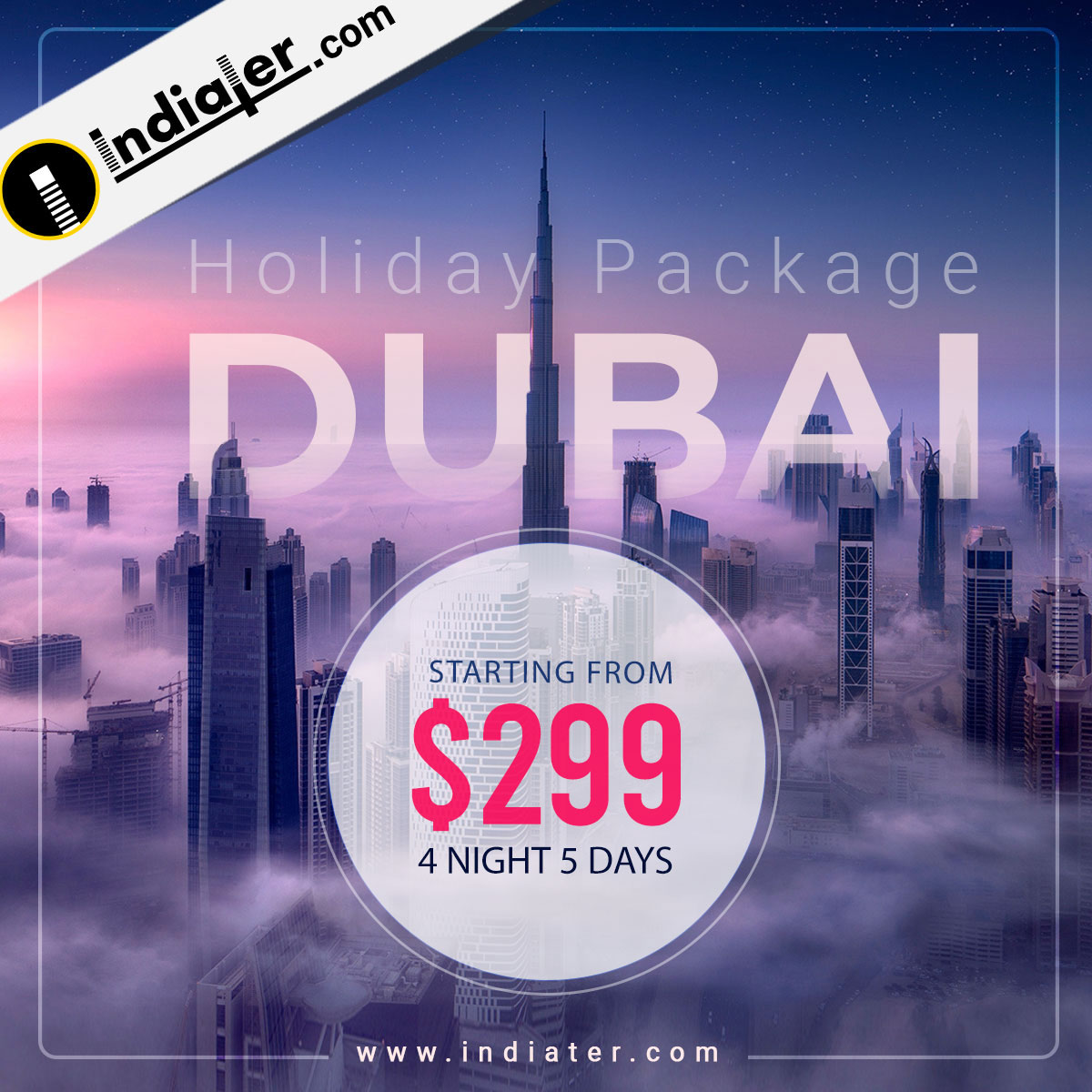 Dubai Holiday Package Travels Banner PSD