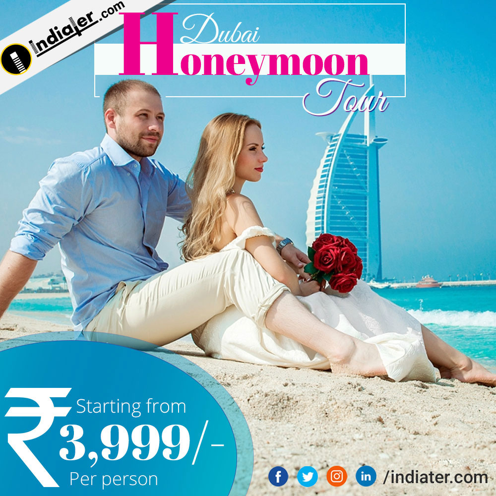 Dubai Honeymoon travel agency banner design