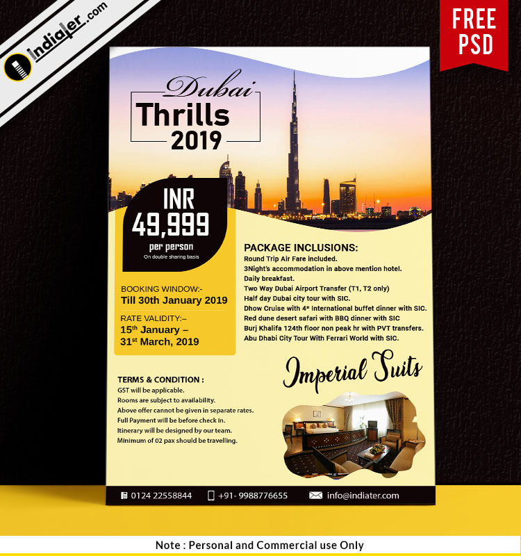 Dubai Thrills Hotel Imperial Travel Flyer Design