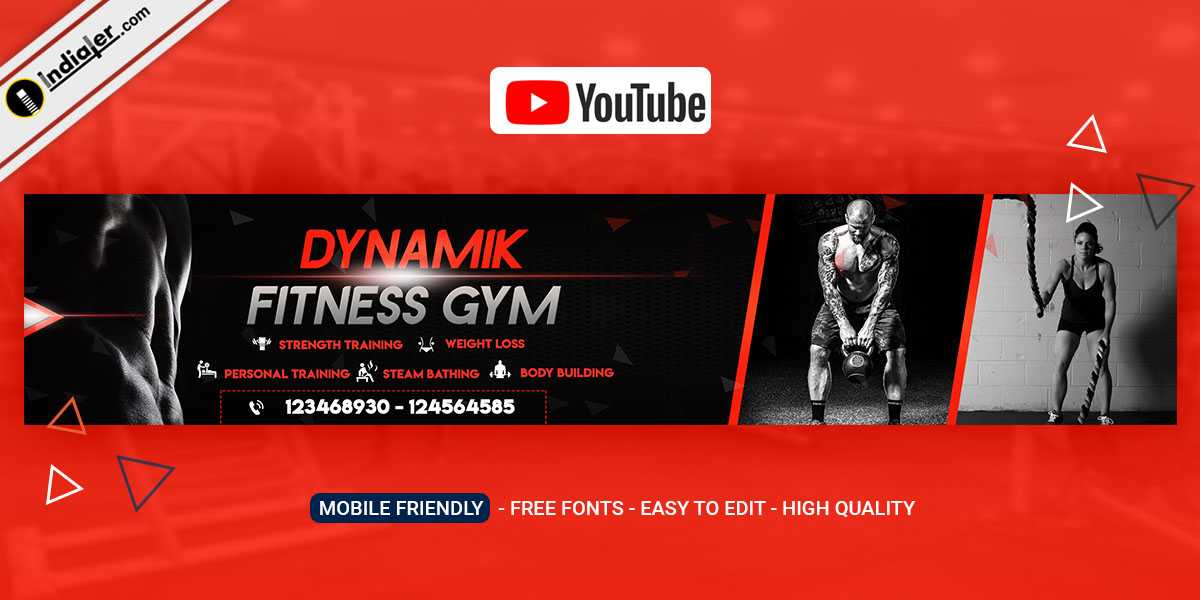 Fitness Gym Youtube channel Art banner PSD Free
