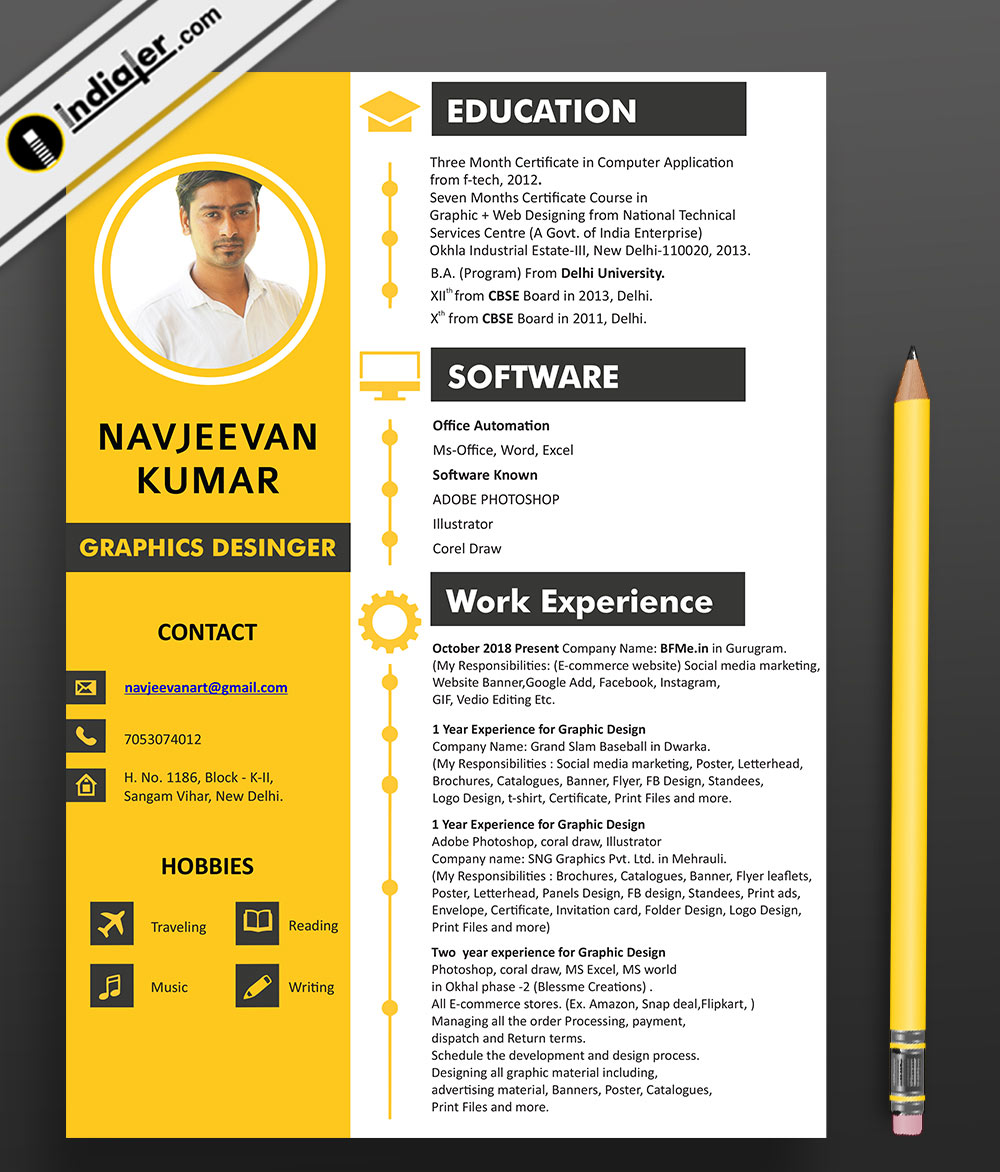 Graphics Designer Creative Resume Cv Psd Ai Design File Indiater
