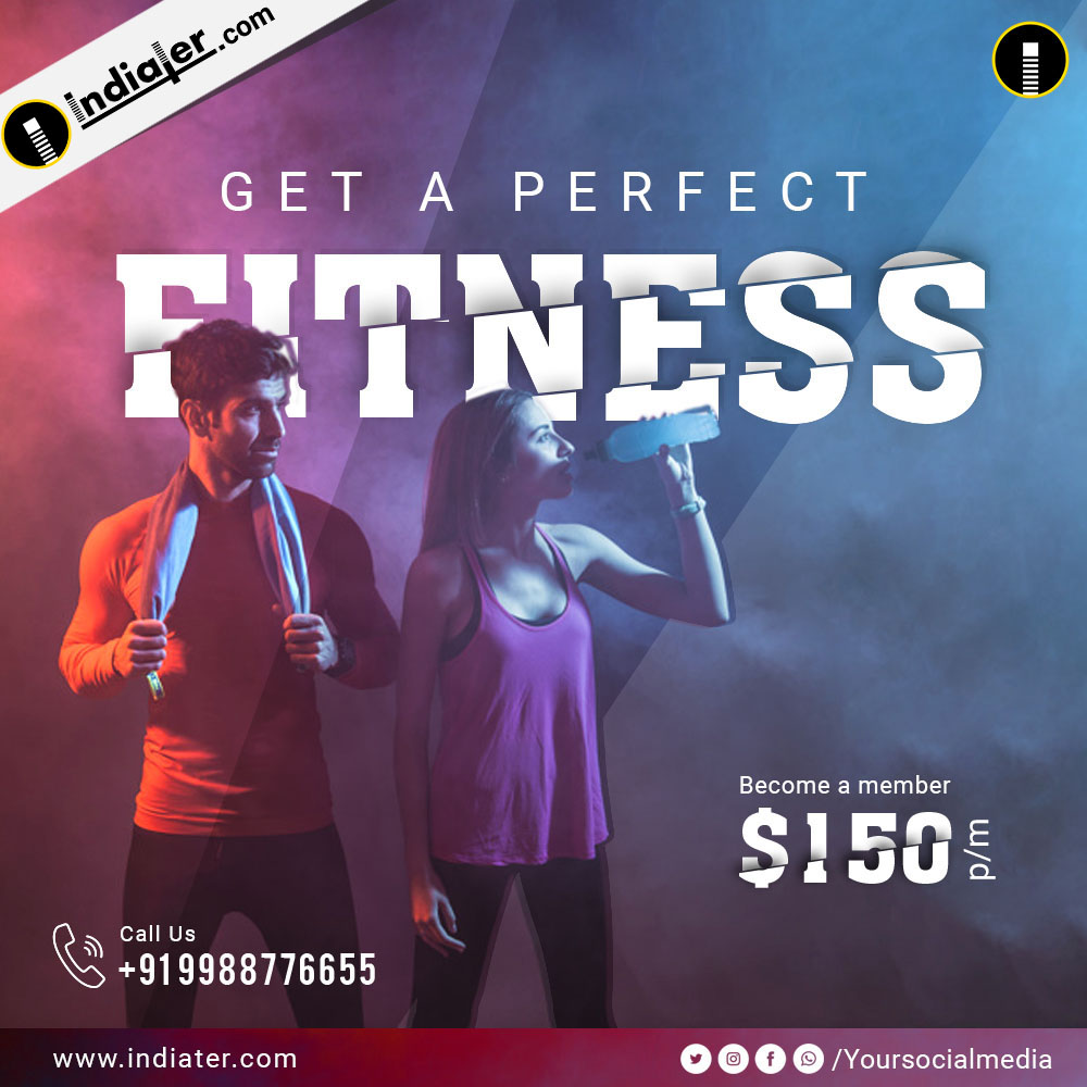 gym and fitness centers social media banner