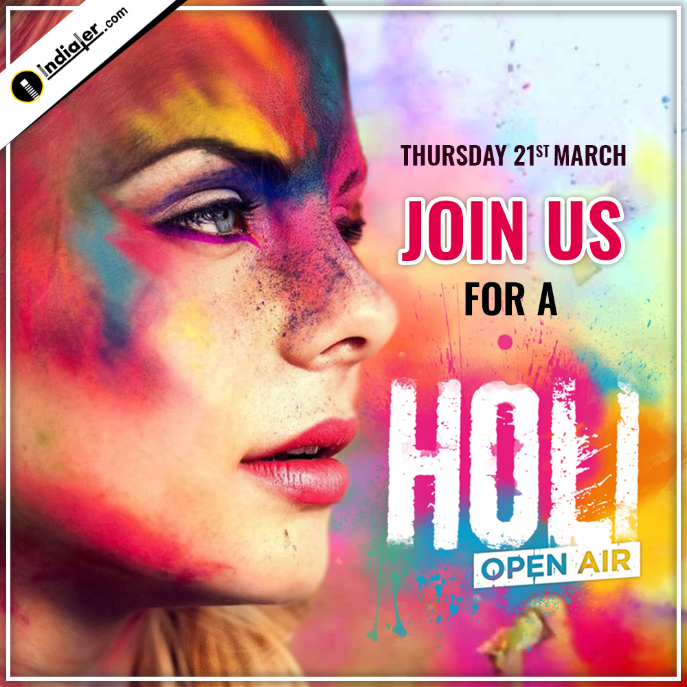 Holi Festival Celebration social media banner invitation design