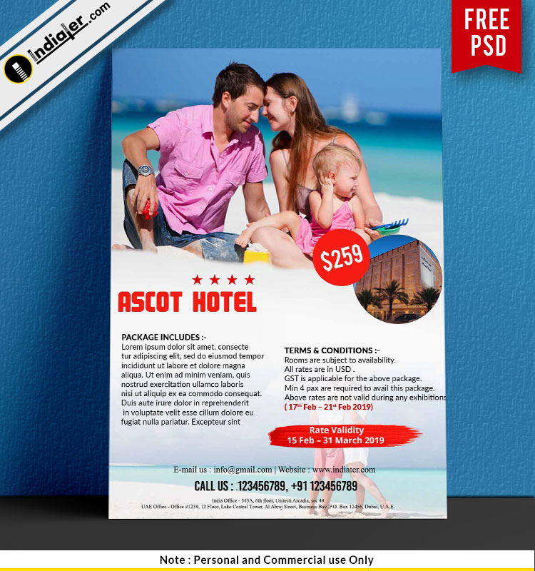 holiday family package hotel promotion travel flyer