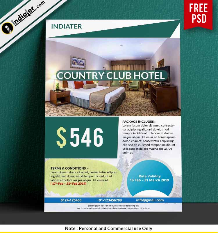 Simple Hotel Promotion Travel Flyer Free Templates