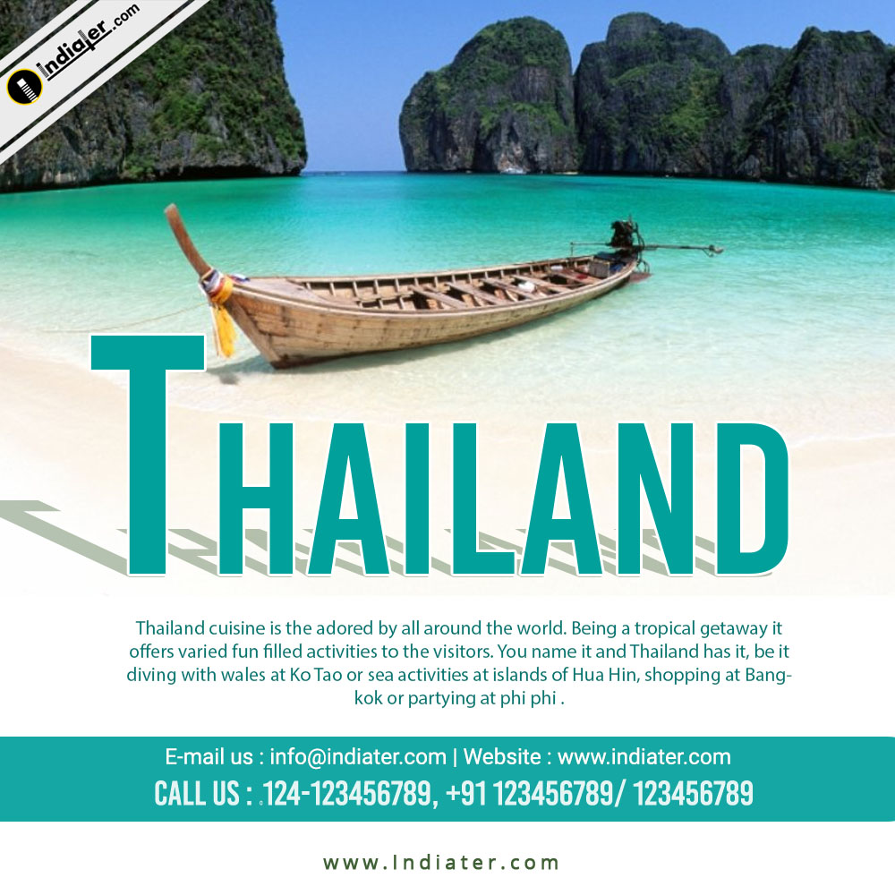 Thailand tour and travels flyer PSD template