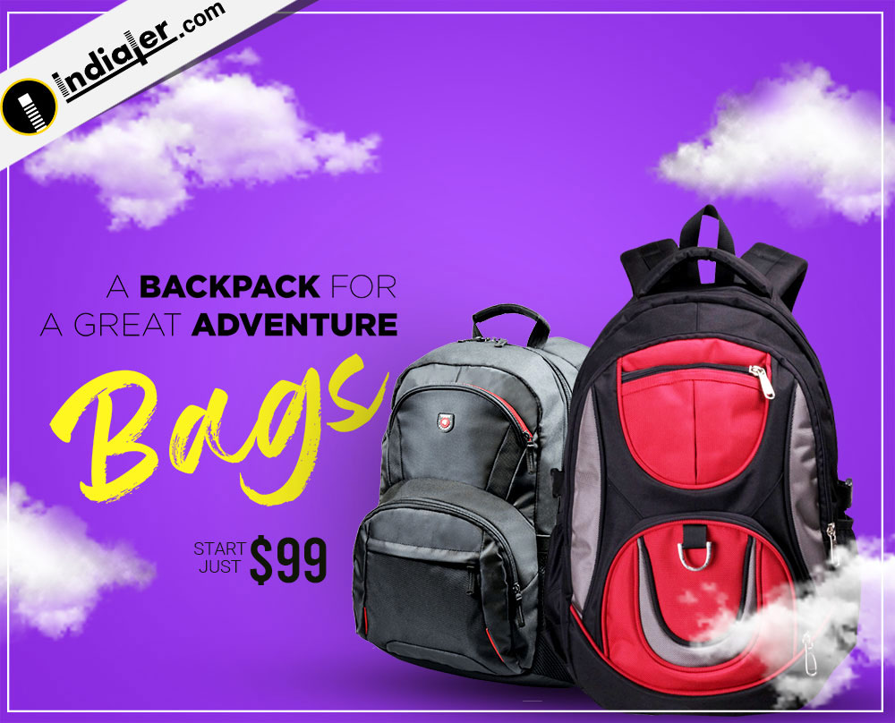 Backpack ecommerce banner design template