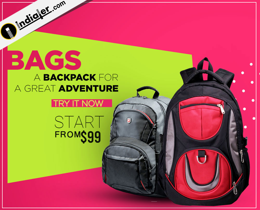 Sale Online Backpack website banner design