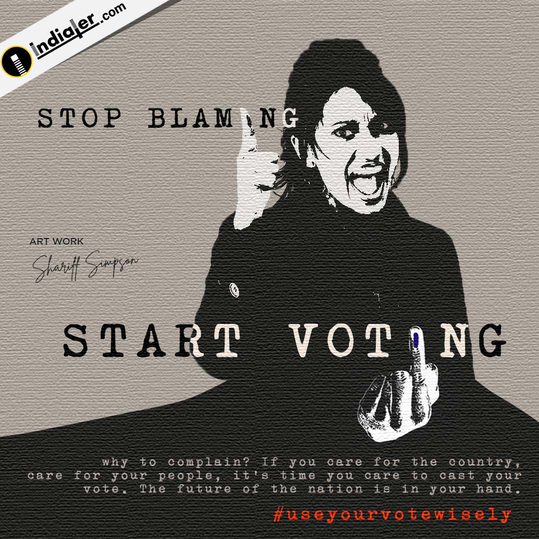 Stop Blaming Start Voting Election Banner design