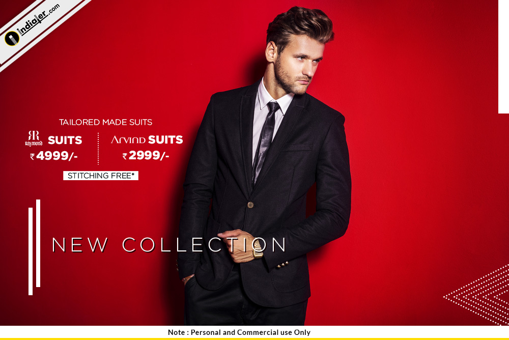 Creative men's suit collection Fashion sale banner Template