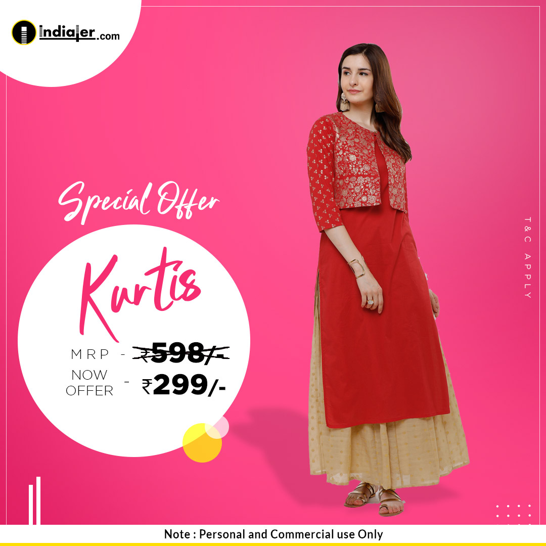 Special offer kurtis fashion sale banner design Template