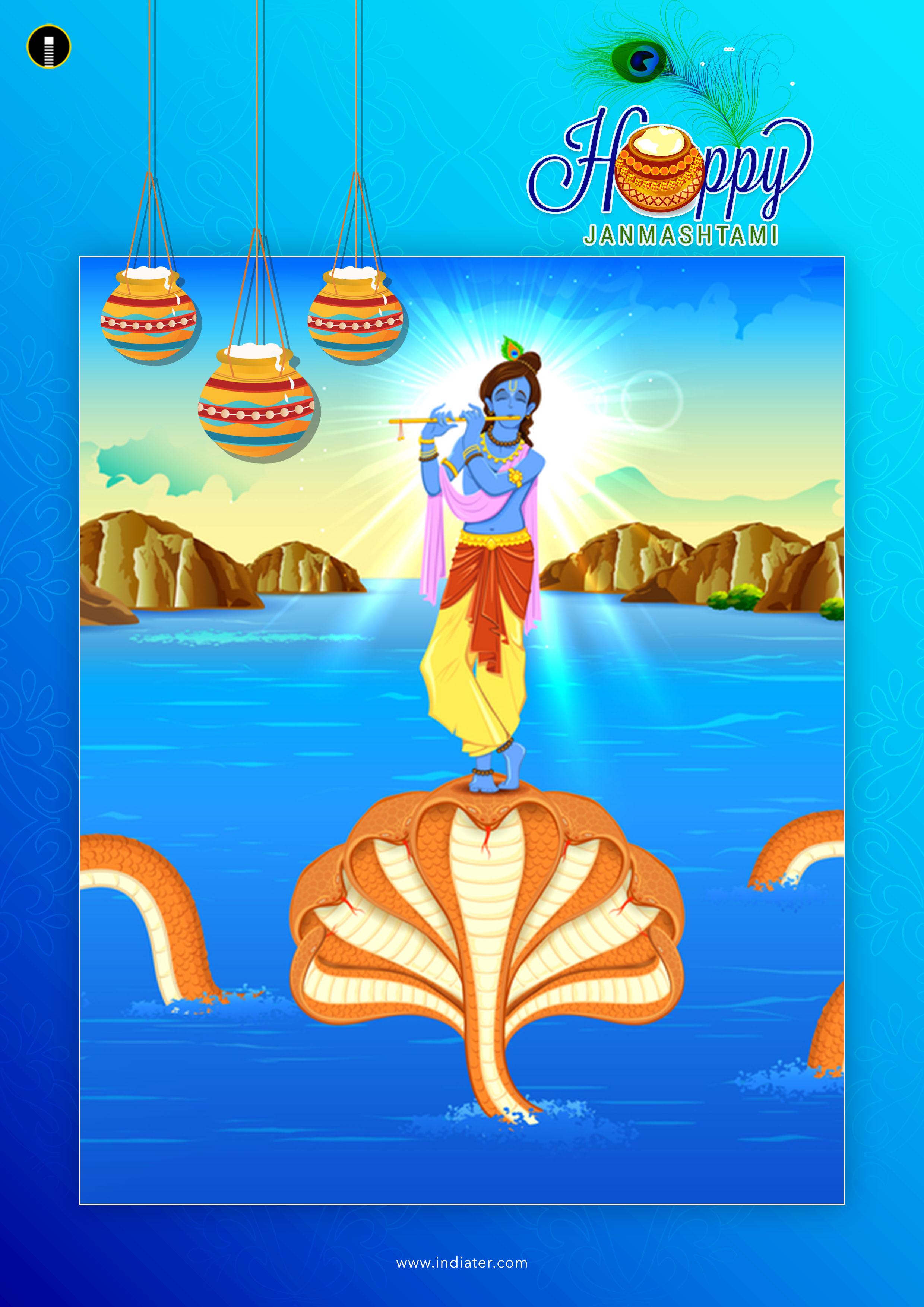 Happy Krishna Janmashtami Poster Design With Best Wishes Free Download
