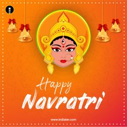 Happy-Navratri-Card-Background-With-Beautiful-Maa-Durga-Face