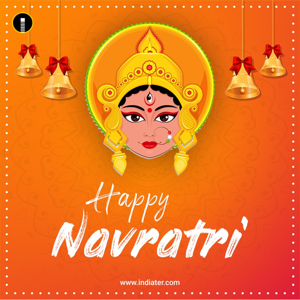 Happy-Navratri-Card-Background-With-Beautiful-Maa-Durga-Face