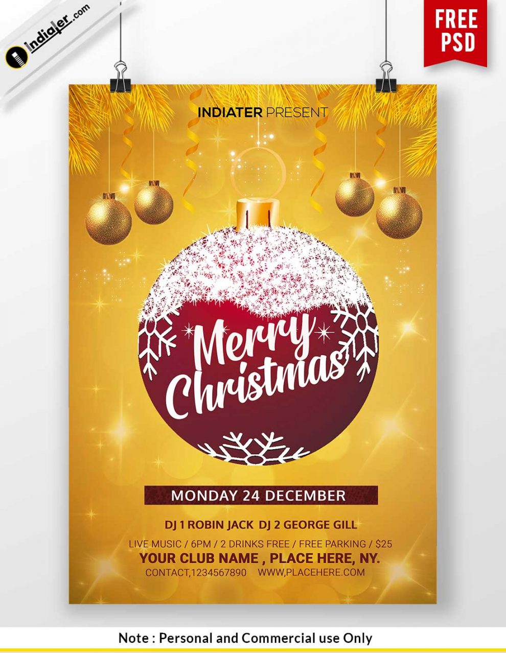 Free Merry Christmas Party Invitation Templates PSD Indiater