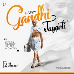 Gandhi Jayanti or 2nd October with creative design photos