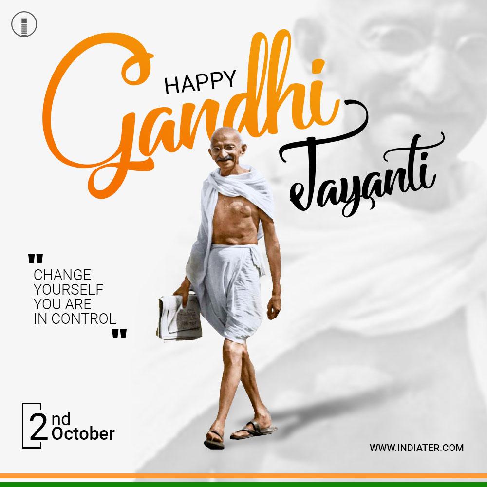 Gandhi Jayanti or 2nd October with creative design photos