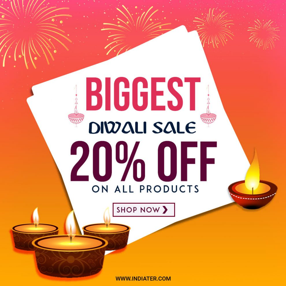 Biggest Diwali Festival Sale Offer Banner free PSD