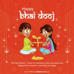 Indian-kids-celebrating-Happy-Bhai-Dooj-on-colorful-art-style-background-of-India