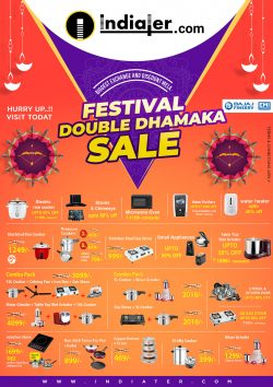 Diwali Festival double dhamaka sale customizable Poster PSD