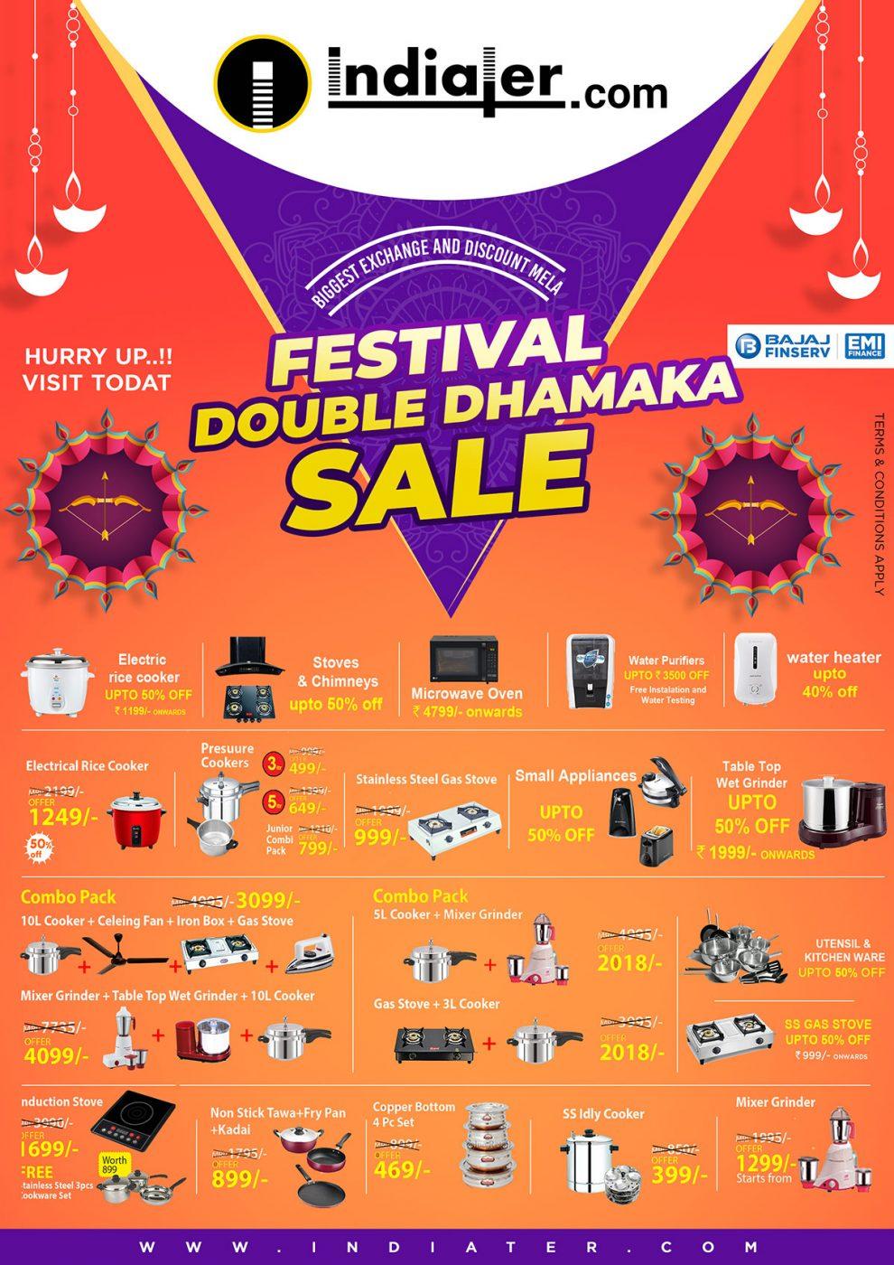 Diwali Festival double dhamaka sale customizable Poster PSD