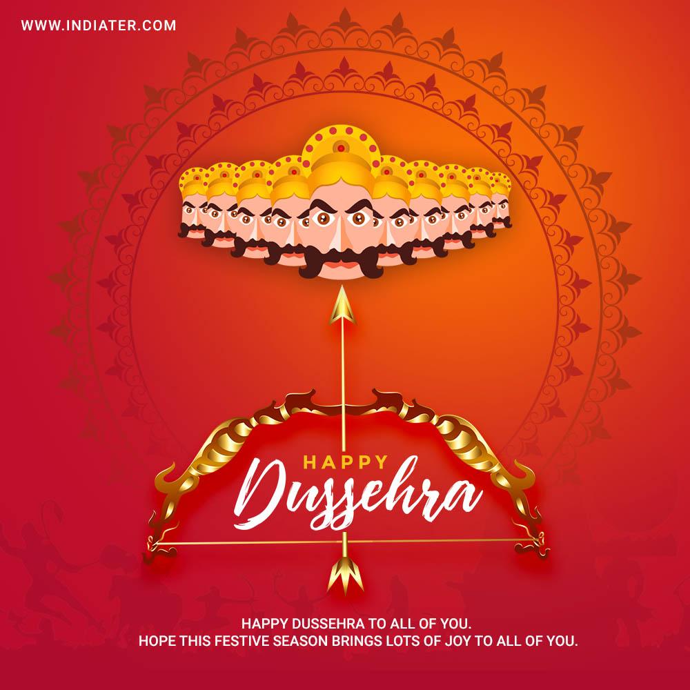 free-elegant-hindu-happy-dussehra-festival-greeting-card-design