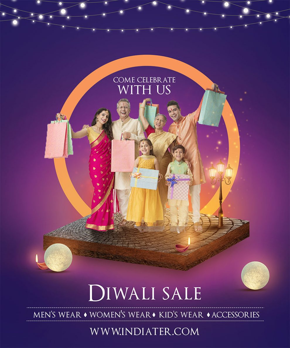 Happy Diwali holiday offers customizable banner PSD