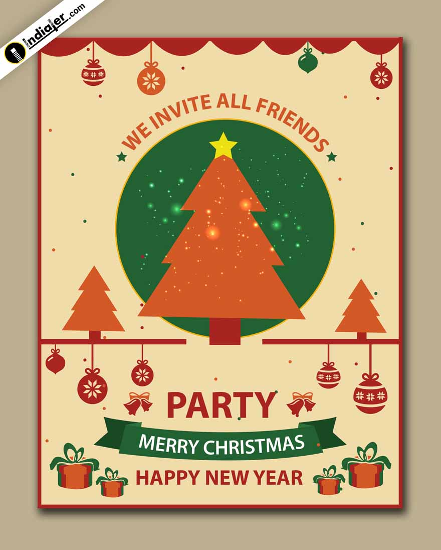 Free Happy New Year And Merry Christmas Party Invitation