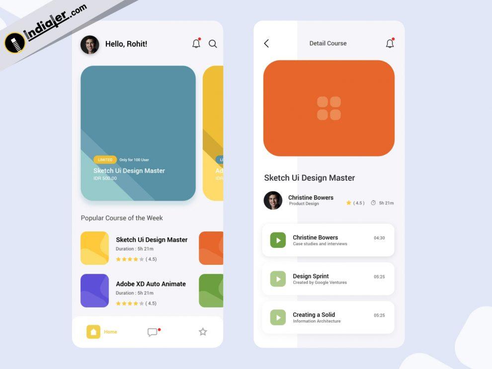 Learning App Mockups UI Kit Design in Adobe XD